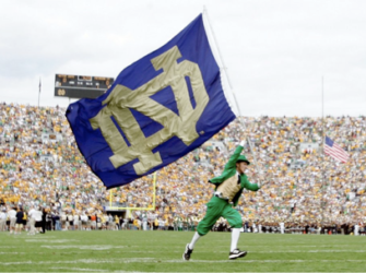 Notre Dame flag and mascot
