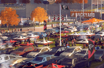NFL tailgating in parking lot