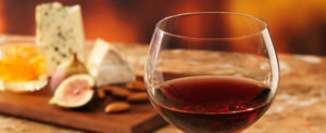 cutting board and wine glass